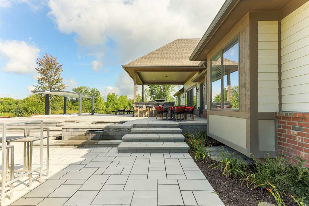 Two-Level Paver Patio in Northville